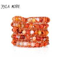 Fyla Mode Braided Leather Cord 5X Wrapped Bracelets Women Orange Striped Natural Stone Beaded Handmade Bracelet Christmas Gifts