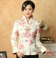New Fashion Cotton Handmade Button White Women Coat Chinese Vintage Clothing Print Top Jacket Size M L XL XXL XXXL CQ017