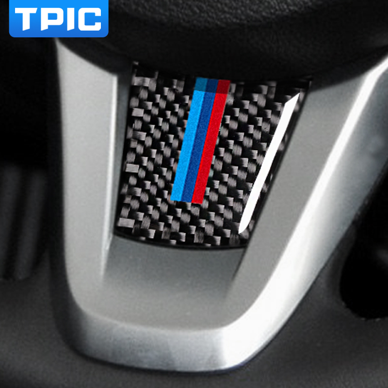 For bmw z4 Carbon fiber Modification Car interior stickers Steering Wheel M stripe Emblem Stickers Car Styling for e89 2009-2015