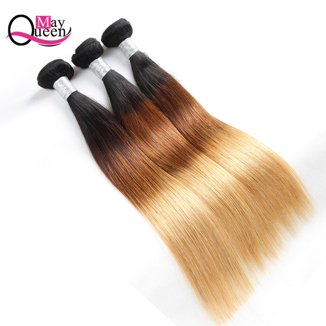 3 Bundle Deals Ombre Brazilian Straight Hair Bundles 1b/4/27 Three Tone Human Hair Weave Bundles Remy Hair Extensions May Queen