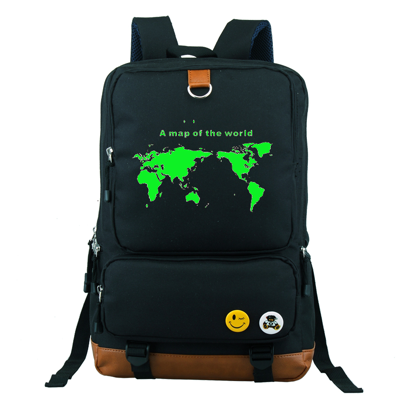A map of the world Backpack School Bag Large Size Laptop Bag Xmas Gift Can Glow in the dark Couple Bag loup can the third world survive