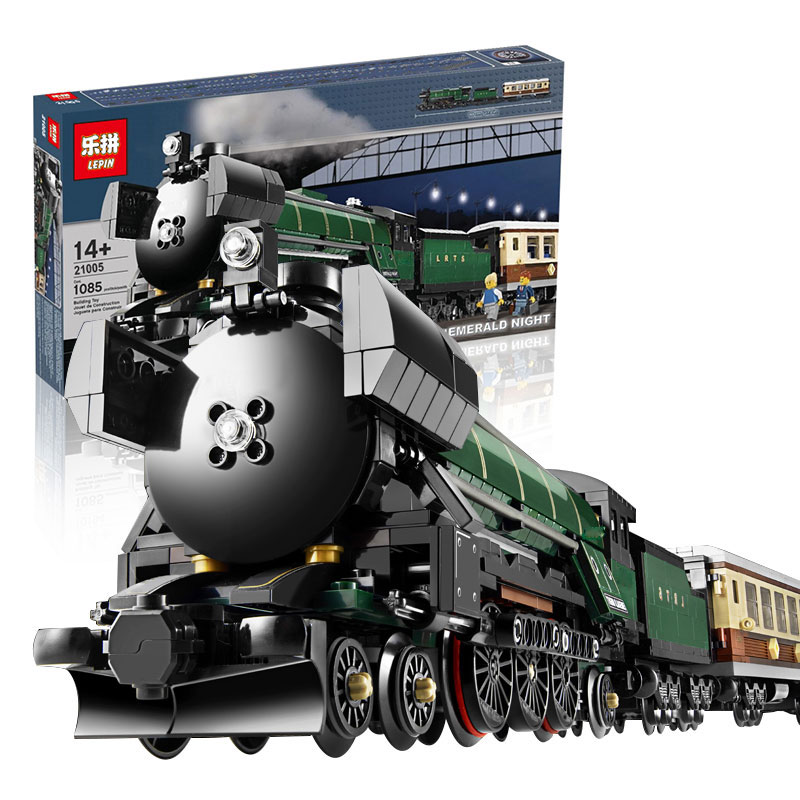 ФОТО lepin 21005 1085pcs creator series the emerald night model building blocks set classic compatible steam trains toys christmas