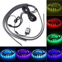4x RGB LED Car Lights Decorative Lamp Tube Strip Light Underglow Undercar Music App Control Kit