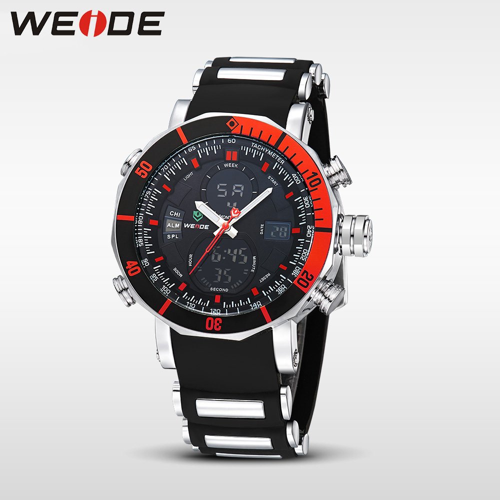 WEIDE Unique Red Black Mens Digital Dual Time Watch Stainless Steel Back Big Dial 30M Waterproof Watches Relogio Masculino