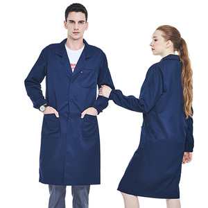 Image 4 - Men Navy Blue Work Coat Poly Cotton Long Sleeve Lab Coat With Reflective Tapes Workwear