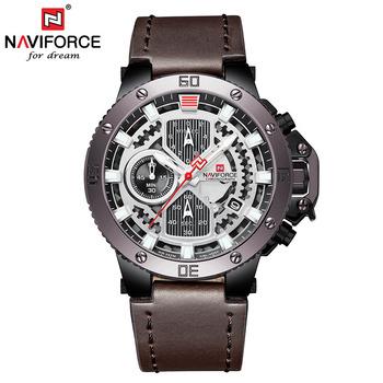 Naviforce 9159 luksusowej marki zegarki męskie zegarek na rękę mężczyźni zegar skórzane wojskowe sportowe zegarki kwarcowe Chronograph zegarki na rękę saat tanie i dobre opinie Kwarcowe Zegarki Na Rękę 22mm Kompletna kalendarz Odporny na wstrząsy Odporne na wodę erkek kol saat QUARTZ Stop Okrągły
