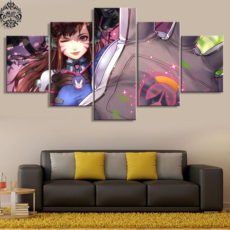 현대 5 개 캔버스 그림 Overwatch D.VA 캔버스 인쇄 게임 포스터 홈 장식 거실 벽 예술 사진 Cuadros
