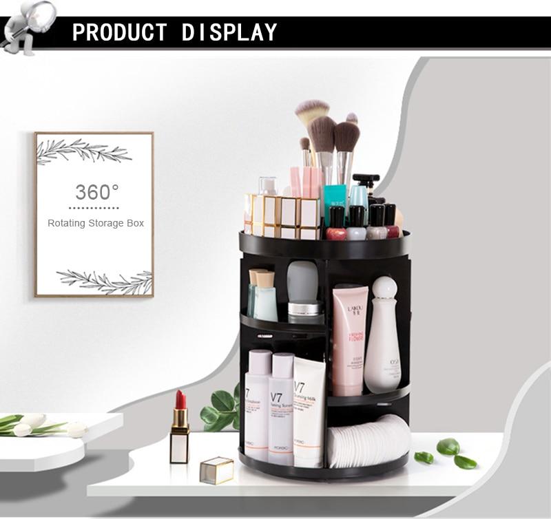 884e260685f0 Fashion 360-degree Rotating Makeup Organizer Box Acrylic Jewelry Organizer  Case Jewelry Makeup Cosmetic Storage Box