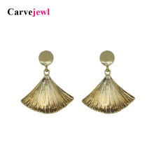 Carvejewl post earrings ginkgo leaf round dangle for women jewelry girl gift new fashion korean 2019 spring