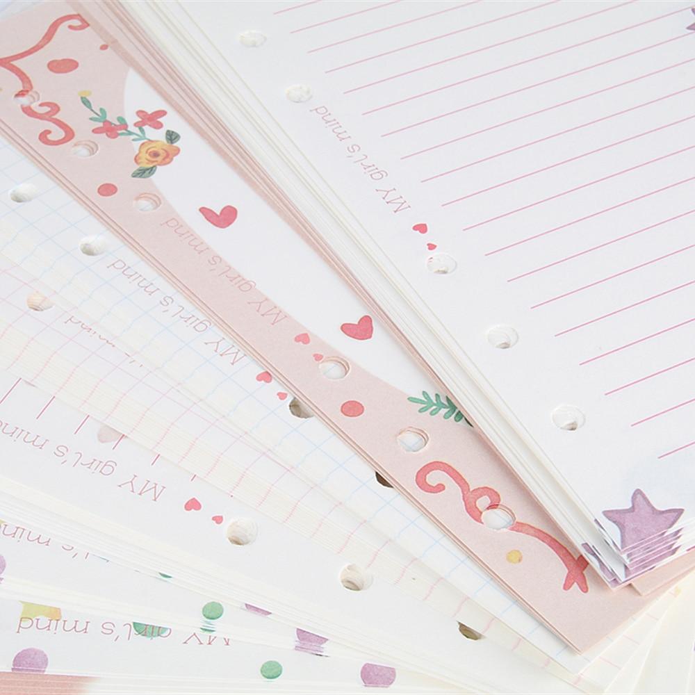 Notebooks Nette 100 Blätter Notebook Füllstoff Papiere A5 & A6 Tagebuch Farbe Inneren Kern Planer Füllstoff Papier Mädchen Serie Innen Seite Geschenke Schreibwaren