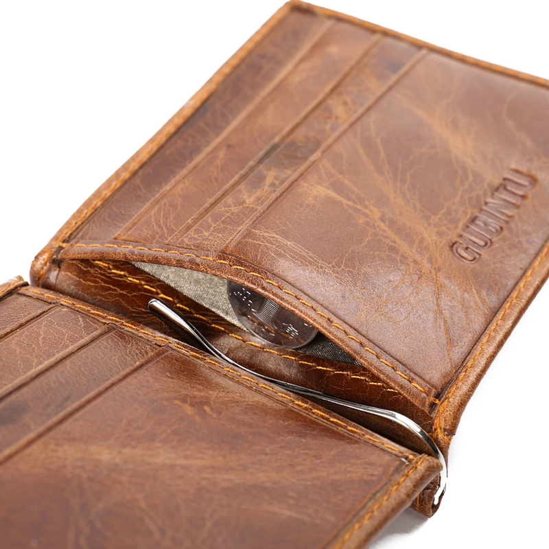 Thin RFID Slim Clamp For Money Bag Business Card Holder Men Wallet Male Purse Cuzdan Genuine Leather Short Vallet Small Carteras