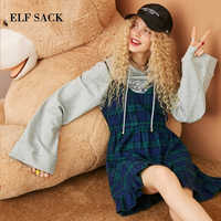 ELF SACK New Woman Set 2 Two Piece Woman Cotton Full Casual Letter Print Pullover Sweatshirt Plaid Mini Vintage Dress Femme Sets