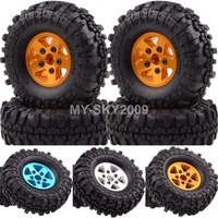 4 pcs roda beadlock jantes de alumínio rock crawler pneus 109-7035 para 1:10 rc caminhão tamiya axial racing