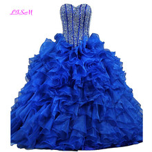Real Photos Sweetheart Ball Gown Long Quinceanera Dress Empire Crystals Beaded Prom Dresses Lace up Back Princess Formal Dress недорго, оригинальная цена