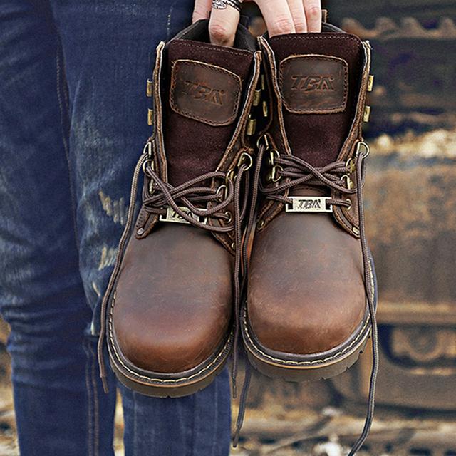 Novo Inverno Chegada Couro Genuíno Dos Homens Tornozelo Botas Casuais Marrom Apartamentos Outono Sapatos Ao Ar Livre Masculino Moda Botas Dos Homens Tamanho 38-44