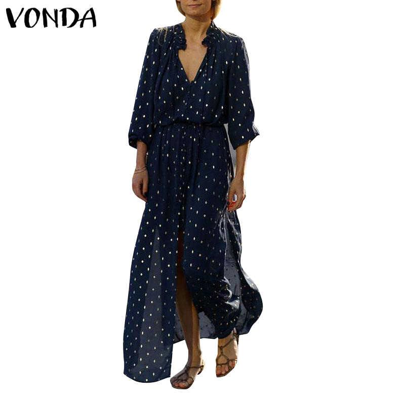 VONDA elbise kadınlar Sundress 2019 yaz seksi bölünmüş nokta baskı parti uzun elbise plaj rahat OL ayak bileği uzunlukta Vestidos artı boyutu