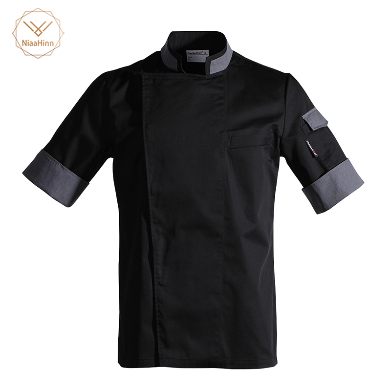 Food Service Chef's Short-sleeved Breathable Summer Wear Work Clothes Men And Women Overalls Hotel Kitchen Chef Black Uniform