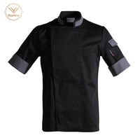 Food service Chef's Short sleeved Breathable Summer Wear Work Clothes Men and Women Overalls Hotel Kitchen Chef Black Uniform