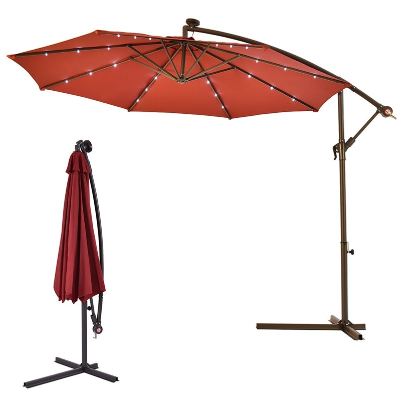 10' Patio Hanging Umbrella Sun Shade With Solar LED Lights Sun Tent Rain Shelter Stainless Steel Outdoor Beach Umbrella  OP3154
