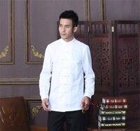 Summer New White Chinese Traditional Men's Mandarin Collar Solid Cotton Long Sleeve Kung Fu Shirt Coat M L XL XXL XXXL D03