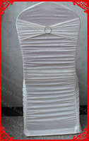 Ivory Ruffled Lycra Spandex Chair Covers With Lycra Band And One Row Diamond Buckle Pin For