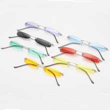 Trend 2018 Luxury Rimless Elegant Sun Glasses Female Mini Small Brand Designer Square Sunglasses Women Blue Yellow Men