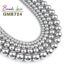 Hot Sale Natural Stone Silver Plated Hematite Shamballa Beads 4 6 8 10 Mm 16