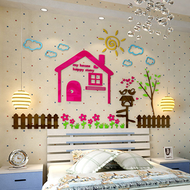 Kids Room Wall Design: Colored Happy House Design Acrylic Wall Stickers DIY Kids
