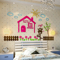 Colored Happy House Design Acrylic Wall Stickers DIY Kids Room Baby Room Nursery School Wall Decorations