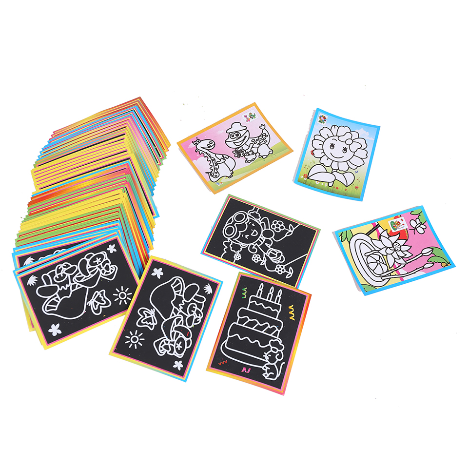 10 Pcs 13x 9.5cm Scratch Art Paper Magic Painting Paper For Kids Toy Colorful Drawing Toys Free Shipping