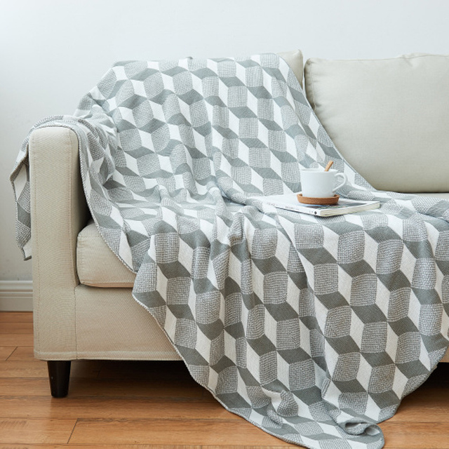 A Blanket Cotton Plaid Sofa Super Soft Knitted Blanket Throws ...