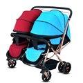 Populares Carrinhos de Gêmeos Gêmeos Carrinho de Bebê Dobrável Carrinho de Bebê Portátil Respirável Boa Qualidade Carrinho De Criança para Gêmeos Carrinho De Bebé