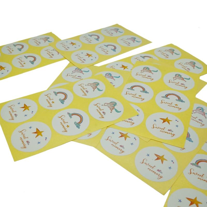 60PCS/Lot Sweet memory Rainbow Star Unicorn Baking Sealing Sticker Seal Label DIYBox Packaging Box Paper Sticker Label Decor
