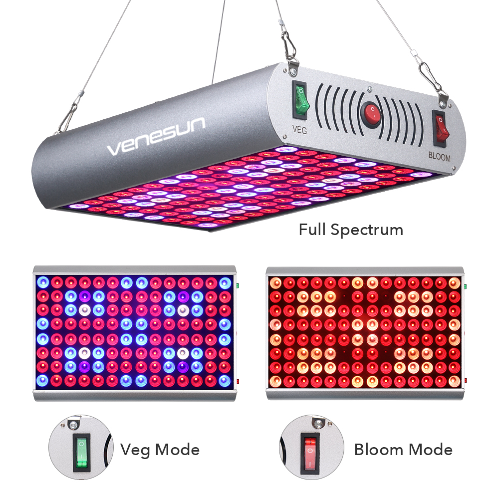 Venesun 300W LED Grow Light Panel Full Spectrum Plant Growing Bulbs Fixture with Veg/Bloom/Full Switch for Indoor Plants Growing growing up