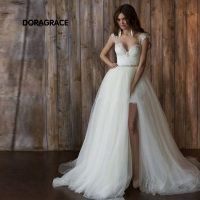 vestidos de novia Unique Beach Short Wedding Gowns Designer Wedding Dresses With Detachable Train DG0102
