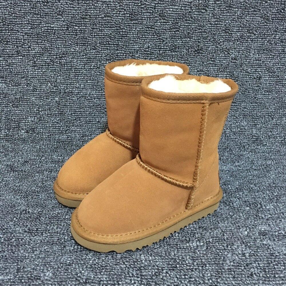 Garçons et filles bottes de neige australiennes 100% véritable cuir de vachette bottes courtes hiver enfants chaussures marque Ivg unisexe taille EU21-35