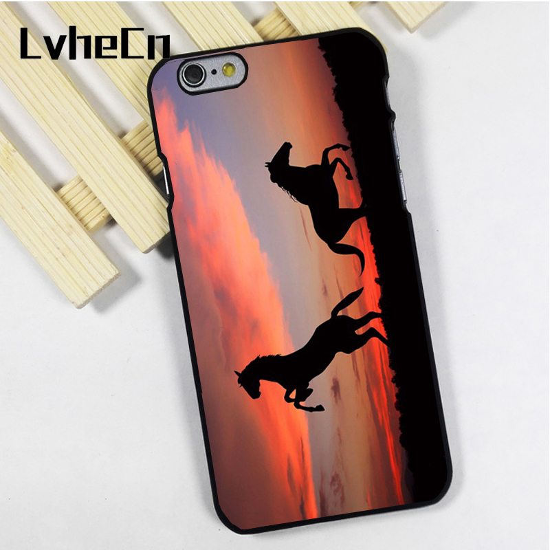 LvheCn phone case cover fit for iPhone 4 4s 5 5s 5c SE 6 6s 7 8 plus X ipod touch 4 5 6 Wild Horses at Sunset Beautiful Scene