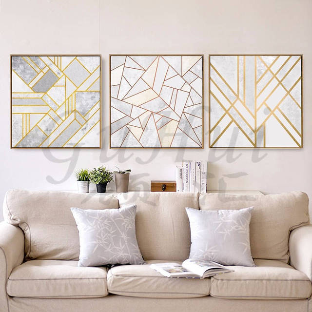 Nordic Minimalist Gold Abstract Canvas Painting Poster Picture Frameless  Painted Living Room Art Home Modular Wall