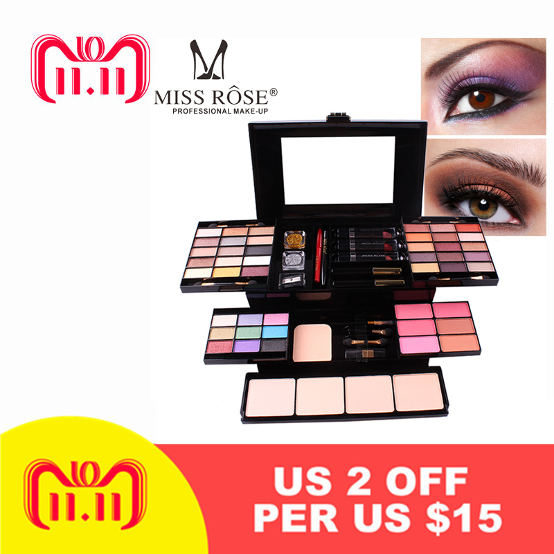 MISS ROSE 39 Color Eyeshadow 6 Colors Blush 4 Color Powder Eye Shadow Box Makeup Box Cosmetic Case