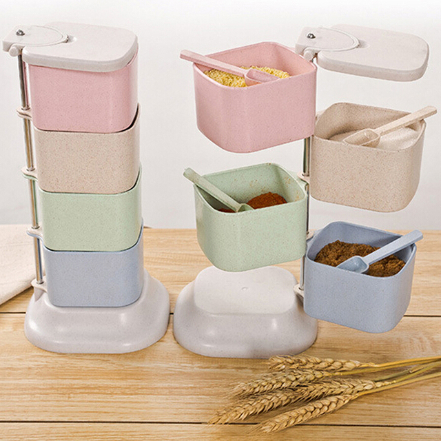 Rotary Wheat Four Grids Straw Spice Jars Container Herb Storage Rack Condiment Salt Seasoning Box with & Rotary Wheat Four Grids Straw Spice Jars Container Herb Storage Rack ...