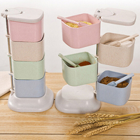 Rotary Wheat Four Grids Straw Spice Jars Container Herb Storage Rack Condiment Salt Seasoning Box with 4 Pcs Spoon