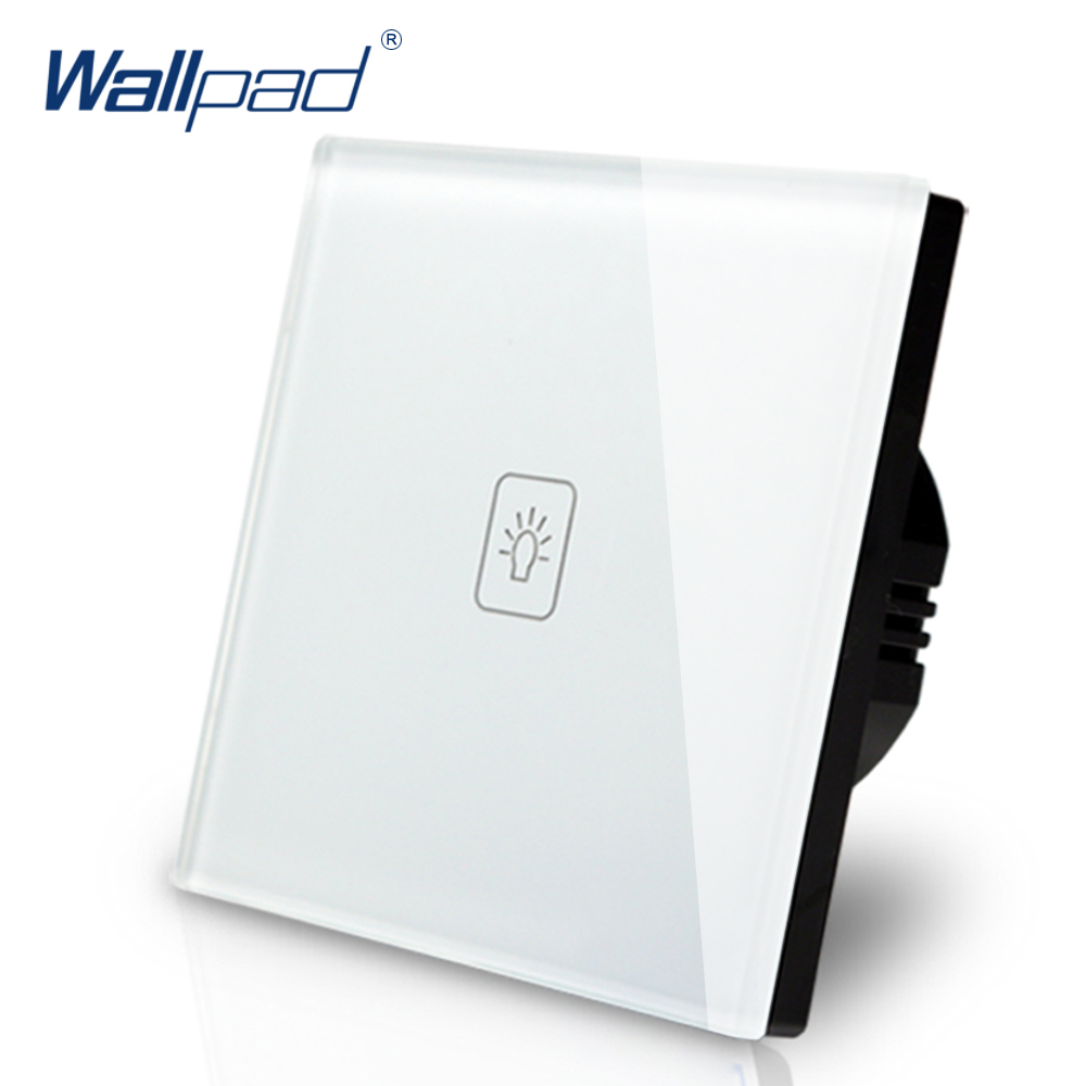 1 Gang 1 Way Switch Wallpad Luxury White Crystal Glass Wall Switch Touch Switch AC 110-250V European Standard smart home us au wall touch switch white crystal glass panel 1 gang 1 way power light wall touch switch used for led waterproof