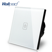 Wallpad Luxury White Crystal Glass Wall Switch Touch Switch Normal 1 Gang 1 Way Switch AC