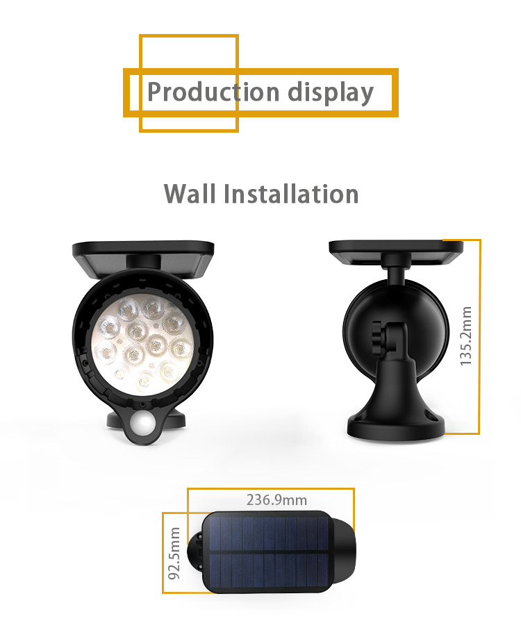 Wall Installation Solar Spot Flood Light Three Mode LED Light with Automatic Light Sensor & Automatic Human Sensor Energy Saving_F11