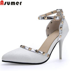 ASUMER/Большие размеры 34-46, модная весенняя новая обувь, женские туфли-лодочки с острым носком и пряжкой, женская обувь, Классические свадебные