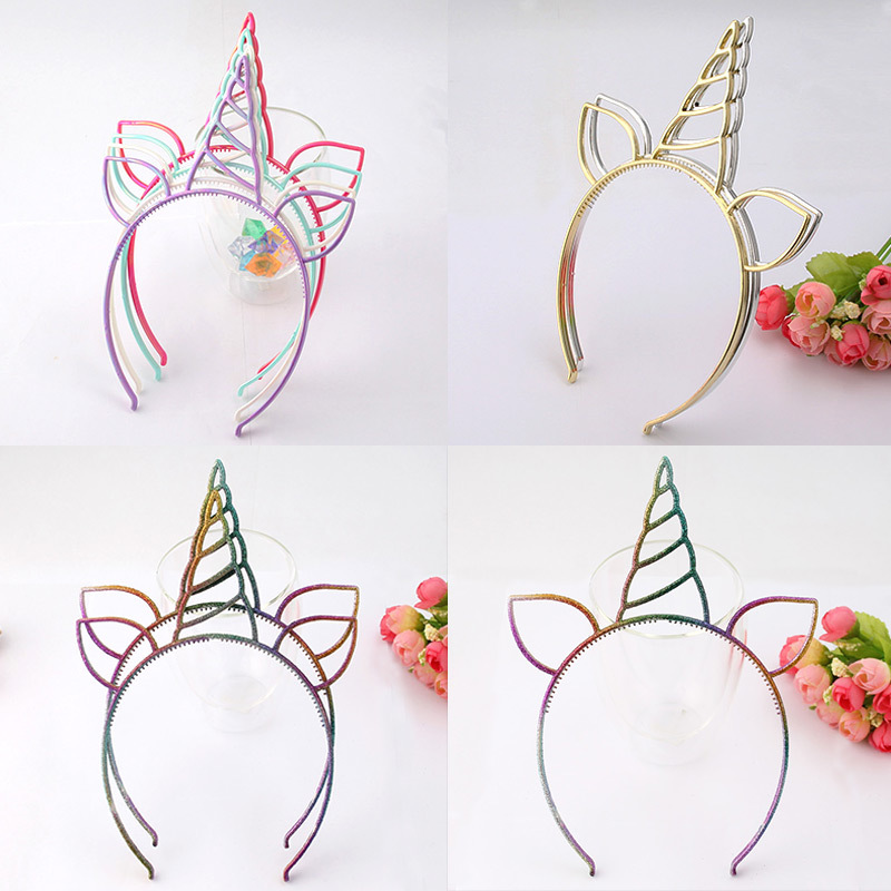 10pcs/lot Unicorn Theme Colorful Birthday Gift Ornaments kids Hair clasp Party Supplies Hat Girls Headdress Dance Party Supplies