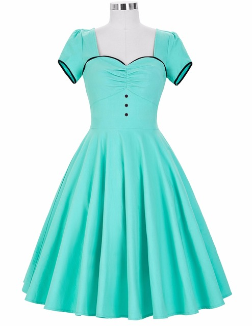 Womens Dresses 2017 Retro Vintage Short Sleeve Sweetheart Plus Size New Arrival Turquoise Party Picnic Dress Women Clothes