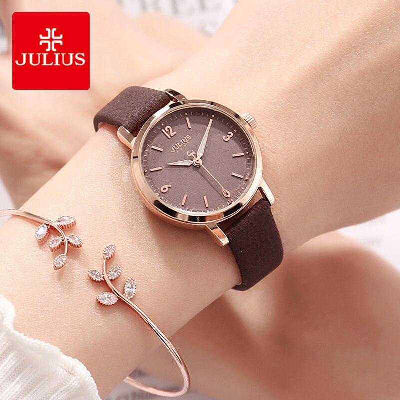 줄리어스 레이디 클래식 디지털 다이얼 가죽 시계 여자 간단한 빛나는 포인터 석영 손목 시계 드레스 시계 몬트 펨 선물