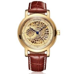 Image 4 - Luksusowa marka szkielet złoty automatyczny mechaniczny mężczyzna zegarek brązowy skórzany pasek luksusowa moda zegarek montre homme