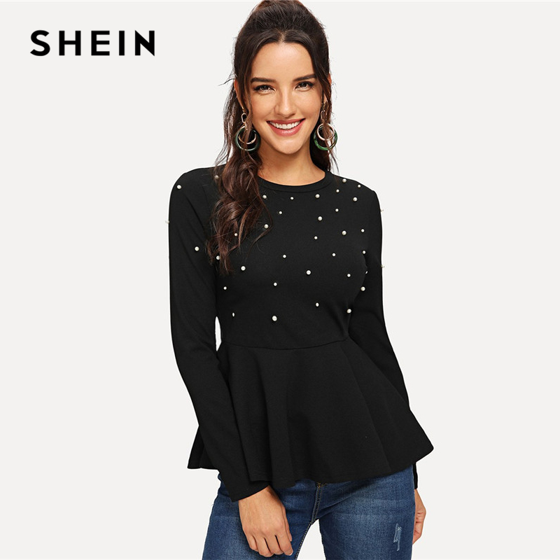 SHEIN Black Pearls Beaded Solid Peplum Top Elegant Round Neck Long Sleeve Flared Blouses Women Autumn Plain Minimalist Blouse